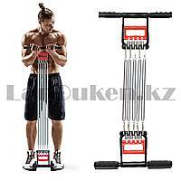 Эспандер для мышц плечей и груди преса и спины с пластиковыми ручками красно-черный