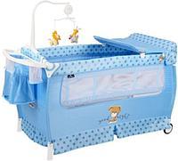 Манеж - кровать Lorelli SLEEP 'N' DREAM 2 Layers Plus Синий DOG 2077
