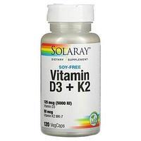 Solaray, витамины D3 и K2, без сои, 120 вегетарианских капсул