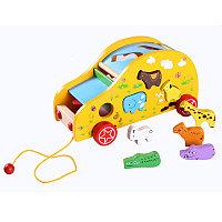 Деревянная игрушка машина-каталка, сортер с животными