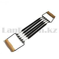 Эспандер для мышц плечей и груди пружинный с деревянными ручками