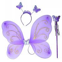 """Карнавальные крылья """"Фея"""" с ободком и палочкой, фиолетовые"""