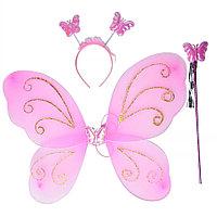 Набор феи, ободок, крылья и палочка, розовый
