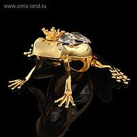 Сувенир «Лягушка», 6,5×5,5×3 см, с кристаллами Сваровски
