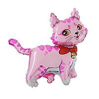 """Шар фольгированный 12"""" «Кошечка с бантом», для палочки, цвет розовый"""