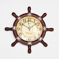 """Часы настенные, серия: Море, """"Штурвал"""", плавный ход, 34 х 34 см, d=18.5 см"""