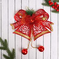 """Украшение новогоднее """"Колокольчики"""" алый цветок и узоры, 28х21 см"""