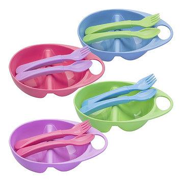 Набор для кормления, 3 предмета: тарелка двухсекционная, ложка, вилка, от 4 мес., цвета МИКС