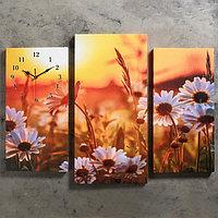 Часы настенные модульные «Ромашки на закате», 60 × 80 см