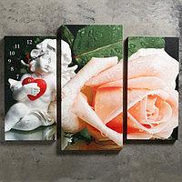 Часы настенные модульные «Ангел и роза», 60 × 80 см