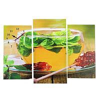 Часы настенные модульные «Чай с мятой», 60 × 80 см