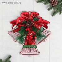"""Украшение новогоднее """"Колокольчик"""" красный бант и веточки, 28х28 см"""
