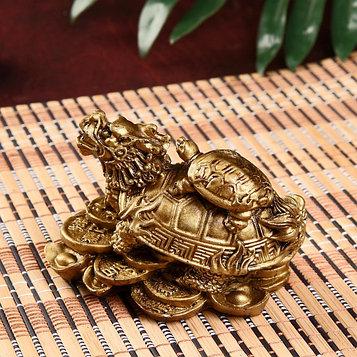 """Нэцке полистоун бронза """"Драконочерепаха с черепахой на спине на горке монет"""" 6,8х9,5х7 см"""