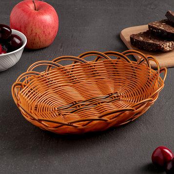 Корзинка для фруктов и хлеба Доляна «Венок», 24×16×6 см, цвет золотистый