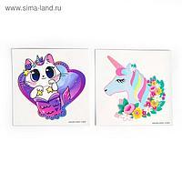 Татуировки-переводки детские, 8 × 8 см, набор 2 шт. «Кот-единорог»