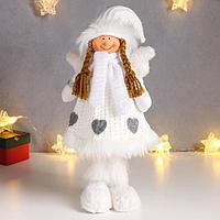 Кукла интерьерная 'Ангел-девочка в белом платье с сердечками' 35 см
