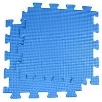 Детский коврик-пазл, 1 x 1 м, синий