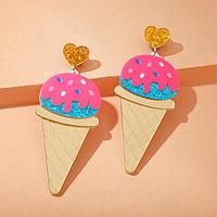 """Серьги пластик """"Вкусняшка"""" мороженое в рожке, цвет розово-голубой в золоте"""