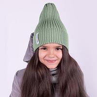 Комплект (шапка,снуд) детский, цвет оливковый, размер 48-52