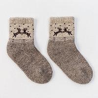 Носки новогодние детские шерстяные Organic 'Олени', цвет серый, размер 14-16 см (3)