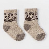 Носки новогодние детские шерстяные Organic 'Снежинки', цвет молочный, размер 14-16 см (3)