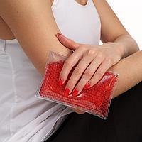 Охлаждающий и согревающий гелевый пакет, с шариковым наполнителем, красный, 15*10 см