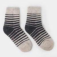 Носки мужские шерстяные в полоску, цвет серый, размер 27 (41-43)