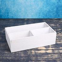 Ящик деревянный 20.5x34.5x10 см подарочный комодик, белая кисть