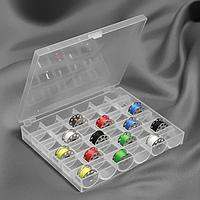 Органайзер для ниток, на 36 шпулек, 14,5 x 12 x 2,5 см, цвет прозрачный