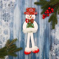 Мягкая игрушка 'Снеговик в костюме с орнаментом, в шляпке' 9,5х30 см