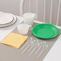 Набор одноразовой посуды Доляна 'Десертный', 6 персон, тарелки десертные, чашки 140 мл, ложки чайные, салфетки