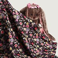 Лоскут мелкий цветочек на черном хлопок 50*50см