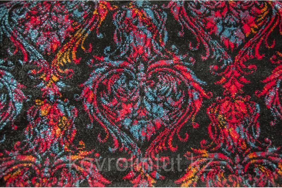Бытовой ковролин FRISE KOLIBRI 11036/180 Чёрный с разноцветным орнаментом 4,0м