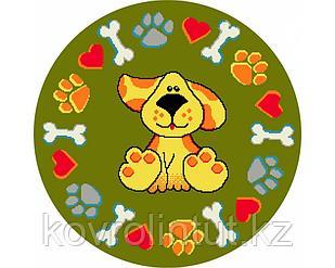 Детский коврик 0,67 х 0,67 Круглый 11100/130 Зелёный / Собака + следы