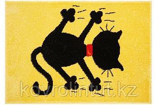 Детский коврик 0,67 х 0,67 Круглый 11101/150 Жёлтый/ Черный кот