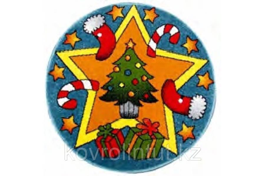 Детский коврик 0,67 х 0,67  Круглый  11092/140  Голубой / Merry christmas