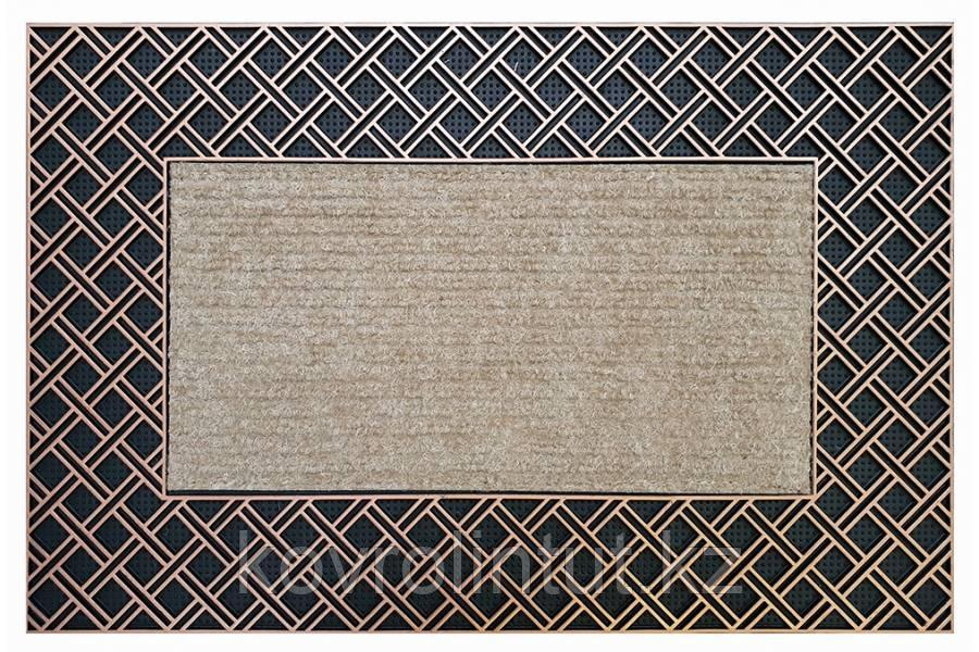 Коврик EHOME 0341 0.45м х 0,70м  Бежевый резиновая кайма  ромбиками