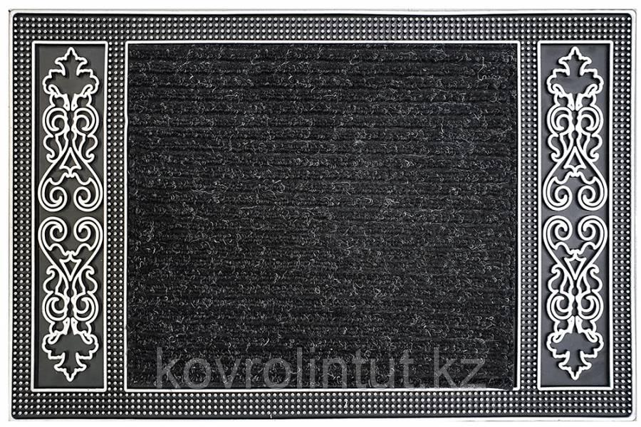 Коврик EHOME 0341 0,45мх0,70м  Чёрный резиновая кайма ромбиками