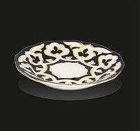 Тарелка рифленая диаметр 13 см Пахта синяя с золотом