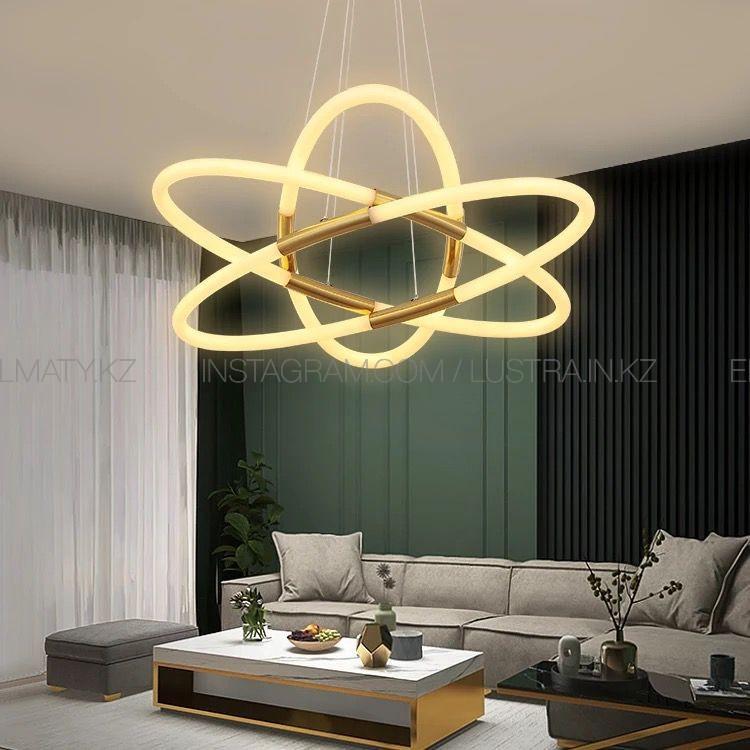 Современная светодиодная люстра на 6 ламп, цвет латунь