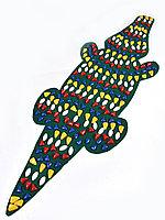 """Коврик с массажно-ортопедический камнями """"Крокодил"""" (зеленый) MS-1264"""