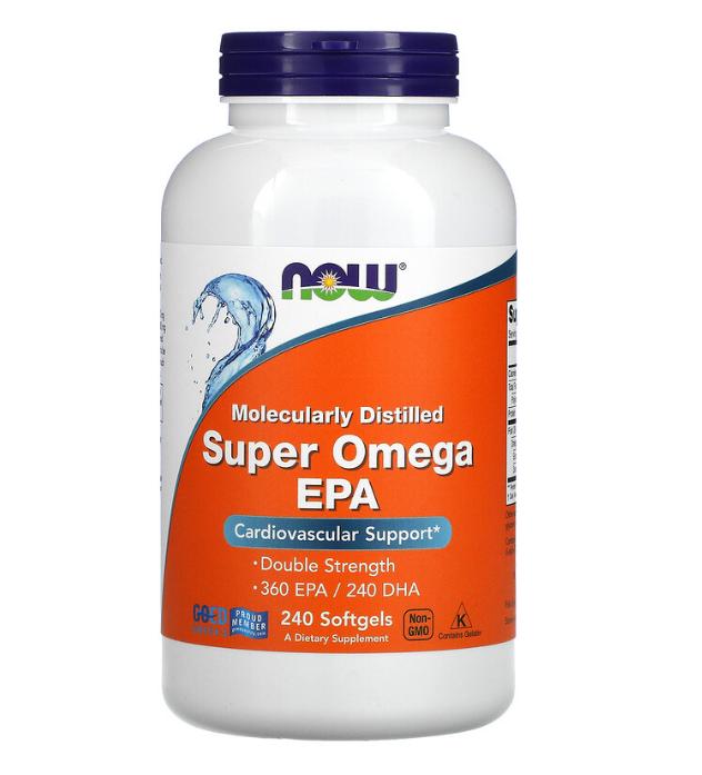 Now Foods, суперомега с ЭПК , очищенная на молекулярном уровне, 240 капсул