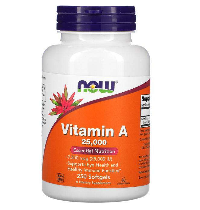 Now Foods, витамин A, 25 000 МЕ, 250 капсул