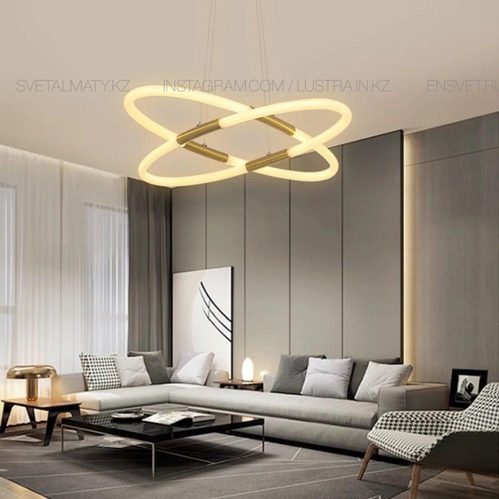 Современная светодиодная люстра на 4 ламп, цвет латунь