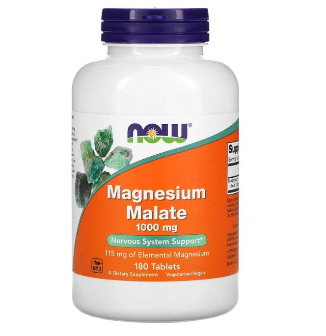 Now Foods, малат магния 1000 мг, 180 таблеток