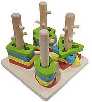 """Развивающая игра «Логический квадрат» """"сортер Ключики"""", геометрические фигуры со штырьками 4 в 1."""