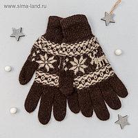 """Перчатки женские из шерсти """"Як"""" 04128 цвет шоколадный, р-р 17-19"""