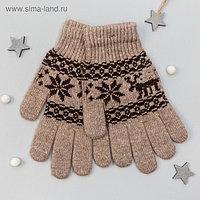 """Перчатки женские из шерсти """"Як"""" 04129 цвет коричневый, р-р 17-19"""