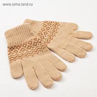 Перчатки женские «Узор» цвет бежевый, размер 17-19