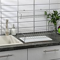 Сушилка для посуды с поддоном 2-х ярусная, настольно-настенная, 40×29×40 см, цвет хром